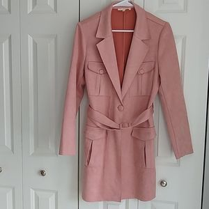 Solitaire S soft pink faux suede jacket